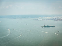 Aerial view on Upper Bay. NEW YORK CITY - JULY 13: Aerial view on Upper Bay on July 13, 2015 in New York. Upper Bay is the traditional heart of the Port of New stock images
