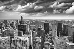Aerial view of Upper Manhattan and Central Park area on a beauti Stock Photography