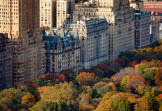 Aerial view of Upper West Side buildings and Centr. Afternoon light on Central Parks treetops and NYC buildings. Upper West Side building facades and tree colors Royalty Free Stock Image