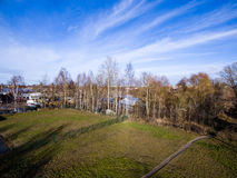 Aerial view of urban area in latvia in autumn Stock Images