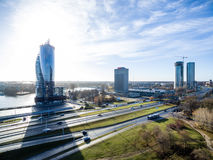 Aerial view of urban area in latvia in autumn Stock Image