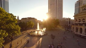 Aerial view of urban city scenery at sunset sky stock footage