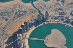 Aerial view about an urban development in Qatar royalty free stock images