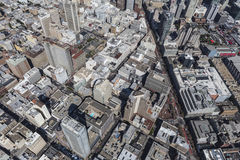 Aerial View of Urban Downtown San Francisco Streets and Building Stock Image