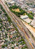 Aerial view of an urban landscape with a railyard stock photo