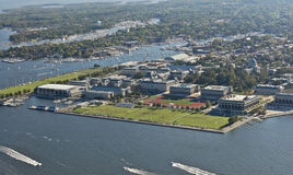 Aerial View of US Naval Academy. View from my Cessna 150 Aerobat plane of the US Naval Academy on an active sailing weekend. Surrounding Annapolis is visible as royalty free stock photos
