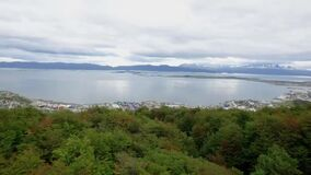 Aerial view of Ushuaia capital of Tierra del Fuego. Argentina.