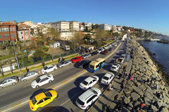 Aerial view of Uskudar - Harem Street in Istanbul. Showing many cars and street as well as luxury housing along Bosphorus Sea Royalty Free Stock Photo
