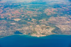 Aerial view of the Uxbridge area cityscape with Pickering Nuclear Generating Station. At Canada royalty free stock photos