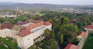 Incredible aerial view of the Uzhhorod Castle, Ukraine. Aerial view of the Uzhhorod Castle, Ukraine, 4k stock video footage