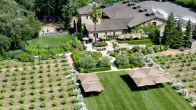 Aerial view of V. Sattui Winery and retail store, St. Helena, Napa Valley, California, USA.