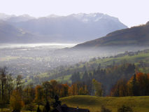 Aerial view of Vaduz. In Lichtenstein Royalty Free Stock Photo
