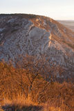 Aerial view of val rosandra, trieste. Aerial view of val rosandra, a valley near trieste in italy at sunset Royalty Free Stock Images