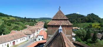 Aerial view of Valea Viilor Saxon village, Transylvania, Romania Stock Photos