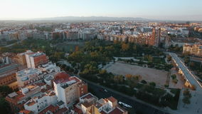 Aerial view of Valencia with architecture and green parks stock video