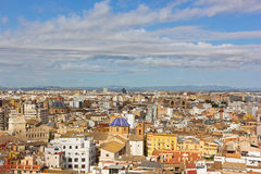 Aerial view on Valencia old city landmarks and urban architecture. Royalty Free Stock Photo