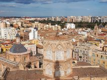 Aerial view of Valencia with the roof of the Valencia Cathedral in foreground Royalty Free Stock Image