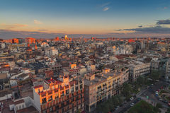 Aerial view of Valencia, Spain in the evening Royalty Free Stock Photos
