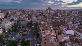 Aerial view of Valencia, Spain at night. Aerial view of Valencia, Spain at sunset. Illuminated Plaza de la Reina with many cafes and restaurants and very popular stock footage