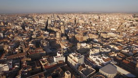 Aerial view of Valencia, Spain. Aerial shot of Valencia city centre with its architecture and ancient cathedral. Spain, Europe stock video