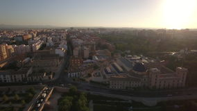 Aerial view of Valencia at sunset, Spain stock video footage