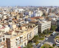 Aerial view of Valencia with tilt shift effect Royalty Free Stock Photos