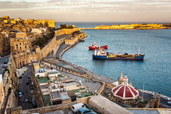 Aerial View on Valletta and Grand Harbour from Barrakka Gardens Stock Photos