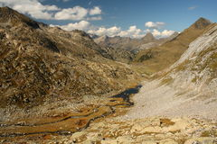 Aerial view of valley in Pyrenees Royalty Free Stock Photography