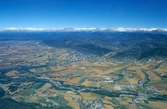 Aerial view of valley of Rio Aragon Royalty Free Stock Photos