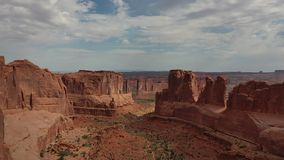 Aerial view of the valley of rock formations in Arches National Park in Utah