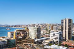 Aerial view of Valparaiso from Paseo Atkinson at Cerro Concepcion Hill - Valparaiso, Chile. Aerial view of Valparaiso from Paseo Atkinson at Cerro Concepcion stock images