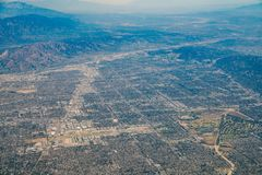 Aerial view of Van Nuys, Sherman Oaks, North Hollywood, Studio C. Ity on Airplane, Los Angeles County Royalty Free Stock Images
