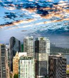 Aerial view of Vancouver cityscape, BC - Canada. Aerial view of Vancouver cityscape at dusk, BC - Canada stock photography