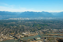Aerial view of Vancouver downtown city in British Columbia with Royalty Free Stock Photos