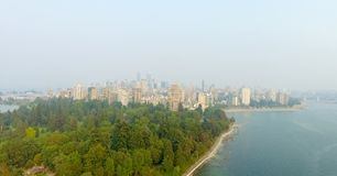 Aerial view of Vancouver skyline from Stanley Park, Canada.  Royalty Free Stock Photos
