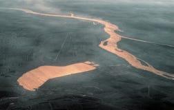 Aerial View Varanasi - Gange. Aerial view of the Varanasi - Gange River in India Stock Image