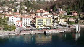 Aerial view of Varenna bay stock video