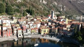 Aerial view of Varenna bay stock footage