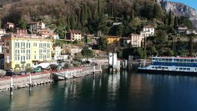 Aerial view of Varenna bay stock video footage