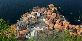 Aerial view of Varenna, a beautiful village by Lake Como, Italy.  Stock Photos