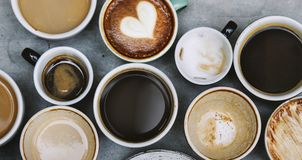 Aerial view of various coffee caffeine drink Stock Photo