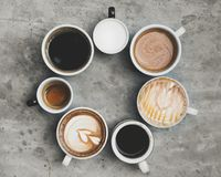 Aerial view of various coffee drink Stock Photo