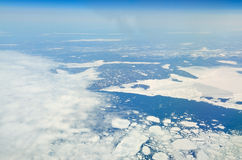 Aerial view of various size sea ice expanses Stock Photos