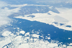 Aerial view of various size sea ice expanses Stock Image