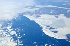Aerial view of various size sea ice expanses Stock Photography