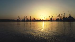 Aerial view of Varna sea port and industrial cranes, Bulgaria.  stock footage