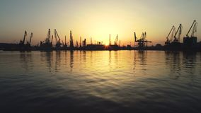 Aerial view of Varna sea port and industrial cranes Bulgaria. Aerial view of Varna sea port and industrial cranes,  Bulgaria stock video footage