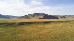 Aerial view of a vast landscape in Mongolia. Aerial view from a drone of a vast mountain landscape in northern Mongolia. Khuvsgol, Mongolia Stock Photography