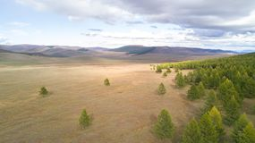 Aerial view of a vast landscape in Mongolia. Aerial view from a drone of a vast mountain landscape in northern Mongolia. Khuvsgol, Mongolia Stock Image