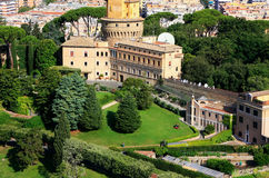 Aerial view of Vatican Gardens from St Peter Basilica Royalty Free Stock Photography